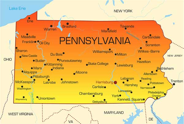 Pennsylvania USA map